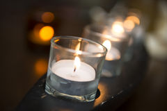 Light of candle in glass for decorate room Royalty Free Stock Photography