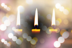Light a candle for illumination at night. Stock Image