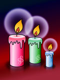 Light of candles. On dark red background Stock Photos