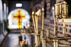 Light candles in a  church Stock Photo
