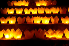 Light candles in flower lights Stock Photos