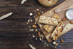 Light carbohydrate and protein rich granola all-day energy breakfast. Mixed nuts and oats vegeterian super food. royalty free stock photography