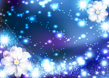 Light Card. Light blue background with flower Stock Photo