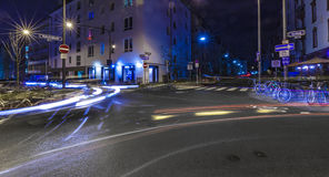 Light of cars in Frankfurt at a crossing by night Stock Image