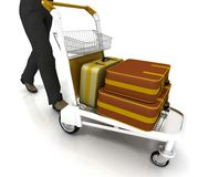 Light cart with luggage. Man rolls light cart with luggage Royalty Free Stock Images