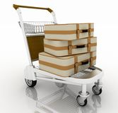 Light cart with suitcases Stock Photo