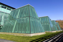 Light catcher. A series of glass structure erected from the ground, it serve the purpose of light catcher, located at the university of Washington, in Seattle Stock Photo
