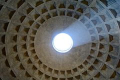 Light from ceiling, Pantheon, Rome Royalty Free Stock Image