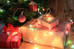 Light celebration on christmas tree with gift box. In living room Stock Photography