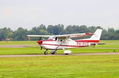 Light Cessna airplane ready take off, Teuge airport, Netherlands Stock Photography