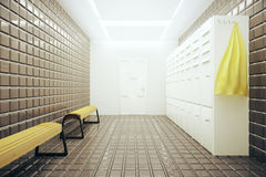 Light changing room. Light gym changing room interior. 3D Rendering Royalty Free Stock Images