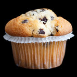 Light chocolate chip muffin in wax liner on black Stock Image