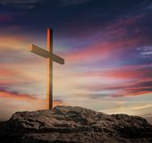Light from sky . Religion background . The Light of Christ Crucifix . Light of God . Light from sky . Cross on the top of the hill stock photography