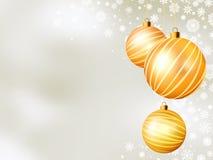 Light Christmas backdrop with five balls. EPS 8 Stock Photo