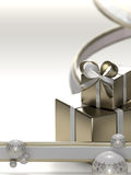 Light christmas background. Made of ribbons, gift boxes and christmas balls royalty free illustration