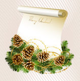 Light Christmas background. With vitality cones , fir tree and paper Stock Photos