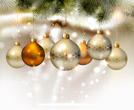 Light Christmas background. With silver evening balls Royalty Free Stock Photos