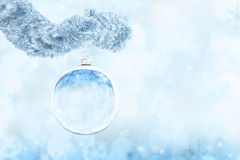 Light Christmas background with glass evening balls Stock Image
