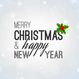 Light Christmas Background with Lettering and Holly Berry Stock Photo
