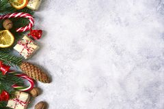 Light christmas background .Top view with copy space. Stock Photos