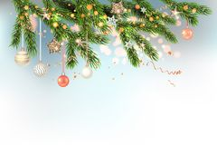 Light Christmas Template with balls. Gold decoration with fir and balls winter holiday invitation. Template Christmas sample for banners, advertising, leaflet Royalty Free Illustration
