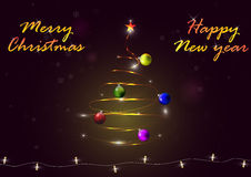 Light Christmas tree with Christmas balls, snowflakes and luminous garland. On dark background with letters, vector illustration Stock Photography
