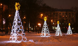 Light Christmas trees in Nizhny Novgorod Russia Royalty Free Stock Photo