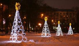 Light Christmas trees in Nizhny Novgorod Russia Royalty Free Stock Photo