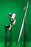 Light at chroma key. Three light projectors with diffusion filters are shining through a big diffusion frame stock photography