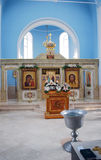 The light church hall with an altar. Kazanskaya Church in the settlement of Glebovo of the Istra district. Russia Royalty Free Stock Image