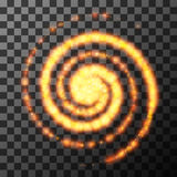 Light circle from fire on transparent. Vector illustration. Royalty Free Stock Photo