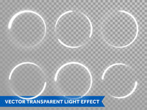 Light circle shine effect on vector transparent background. Light shine circles set on transparent background. Vector  icons of circular shiny sun flash or star Stock Photography