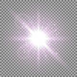 Light circle with stardust, purple color. Light circle with stardust, glowing light with sparks on transparent background, light effect, purple color Stock Photography