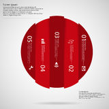 Light Circle template infographic vertically divided to five red parts Royalty Free Stock Photography