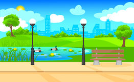 Light City Park Landscape Background. With bench lanterns water lily ducks swimming in pond and plants vector illustration Stock Images
