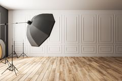 Light classic photo studio. Interior with professional equipment. Photography and design concept. 3D Rendering stock illustration