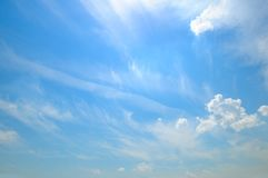 Light clouds in the blue sky stock images