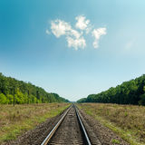 Light clouds in blue sky over railroad Royalty Free Stock Image