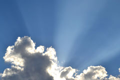 Light through the clouds. Ray sunlight breaks through the clouds Royalty Free Stock Photos