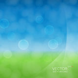 Light cloudy circles like bokeh effect. On green and blue gradient background and with light smooth layers on a side Stock Image