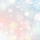 Light color background with snowflakes and stars, vector Stock Photo