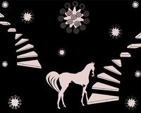Light color Horse makes a step. Light colored stairs with right and left side illustration, floral abstract ornament Stock Image