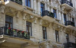 Light colored building balconies in the sun royalty free stock photography