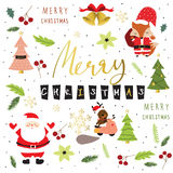 Light colorful christmas greeting card with fox,santa claus,flor Stock Image