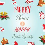 Light colorful christmas greeting card with fox,santa claus,flor Royalty Free Stock Photo