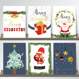 Light colorful christmas greeting card with santa claus,fox Stock Photo