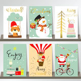 Light colorful christmas greeting card with tree,cake,bycicle Stock Photo