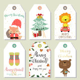 Light colorful tag with fox,sock and lion Royalty Free Stock Image