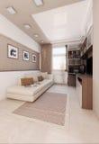 Light colors bedroom interior design, render 3D. Minimalist interior design ideas. Three dimensional rendering of bedroom project Royalty Free Stock Photo
