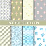 Light colors summer patterns. Modern pattern collection. Vector illustration Stock Photo